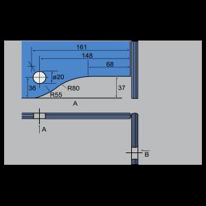 Soporte superior con conector a 90º