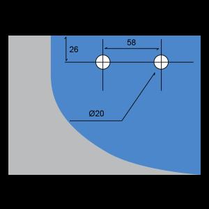 Conector de aleta con soporte para el cielo raso o piso